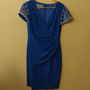 Size 8 blue dress with pearl accents